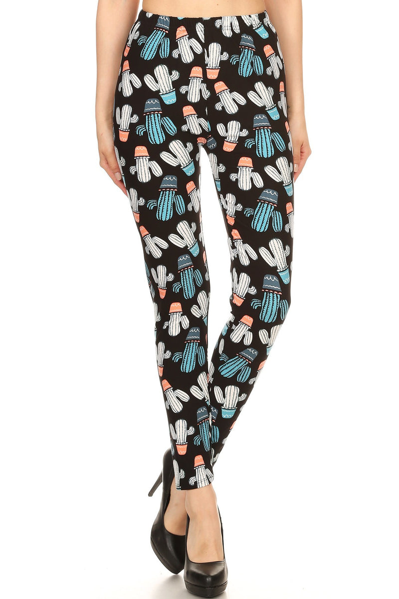 Mixed Cacti Printed Fit Style Leggings
