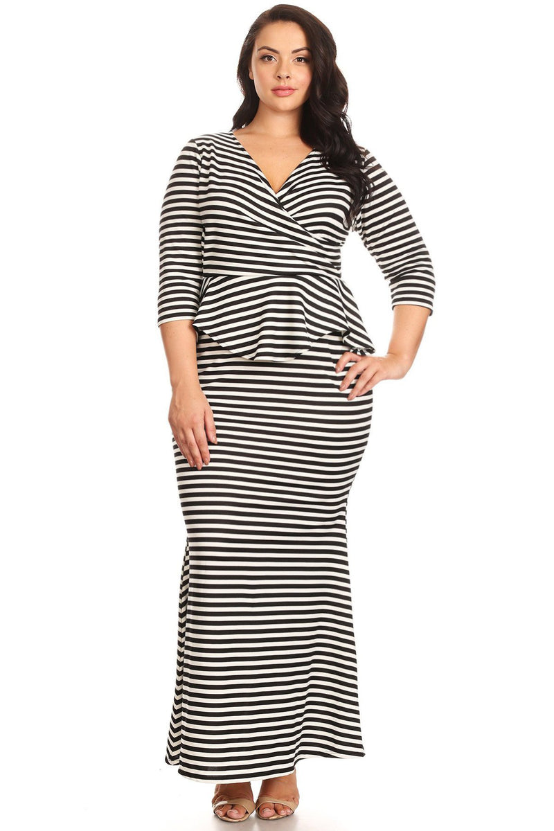Plus Size Stripe Surplice V Neck Peplum Maxi Dress