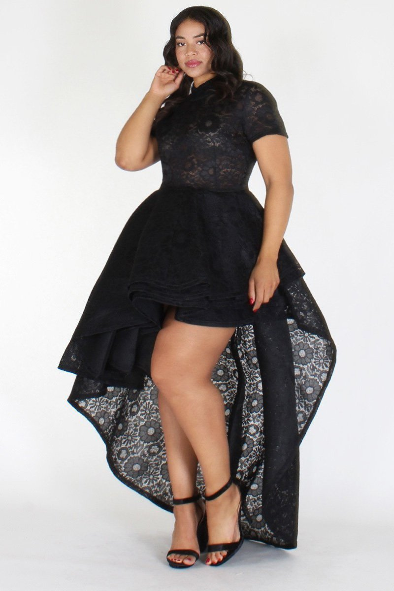 Plus Size Designer Flare Layered Hi Lo Dress Black