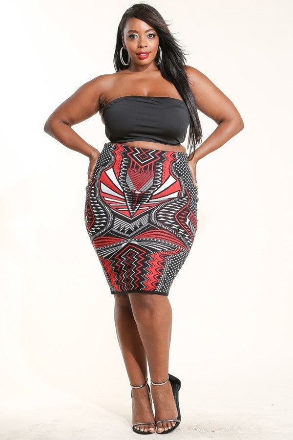 Plus Size Stylish Aztec Print Skirt