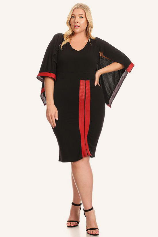 Plus Size Cape Sleeve Bodycon Red Strip Dress