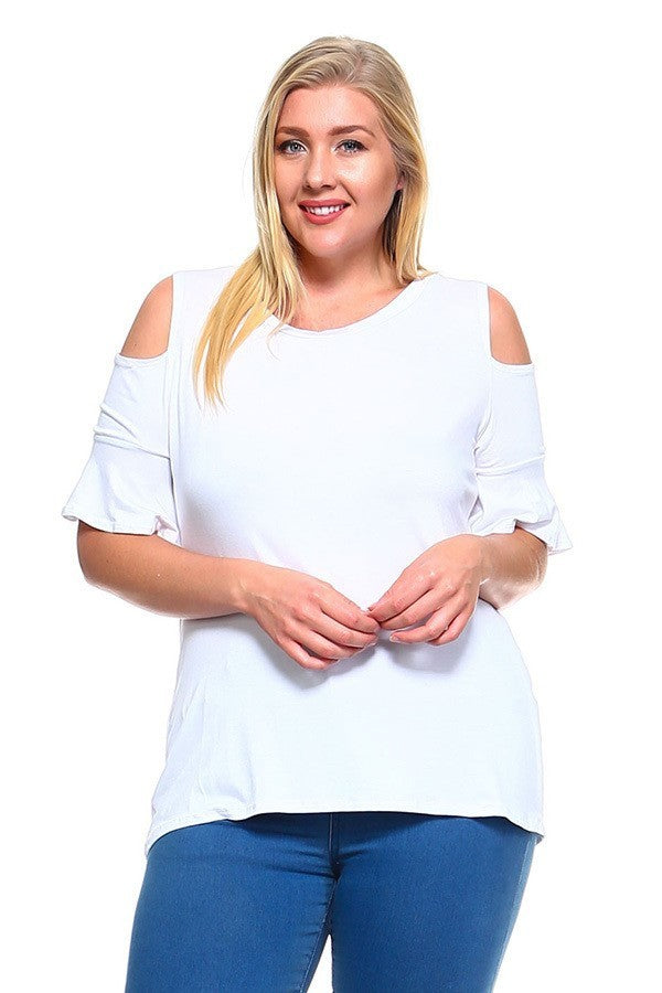 Plus Size Ruffle Sleeves Open Shoulder Top
