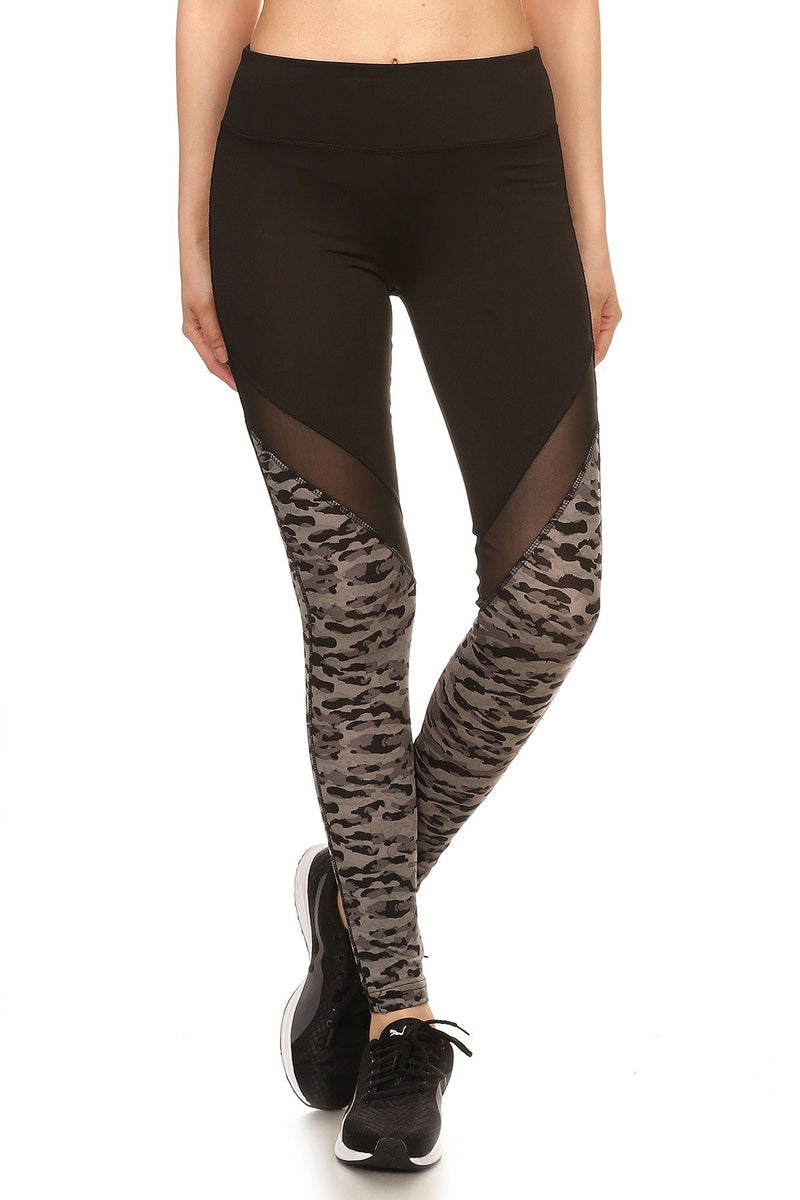 Solid Camo Print Mesh Panel Leggings