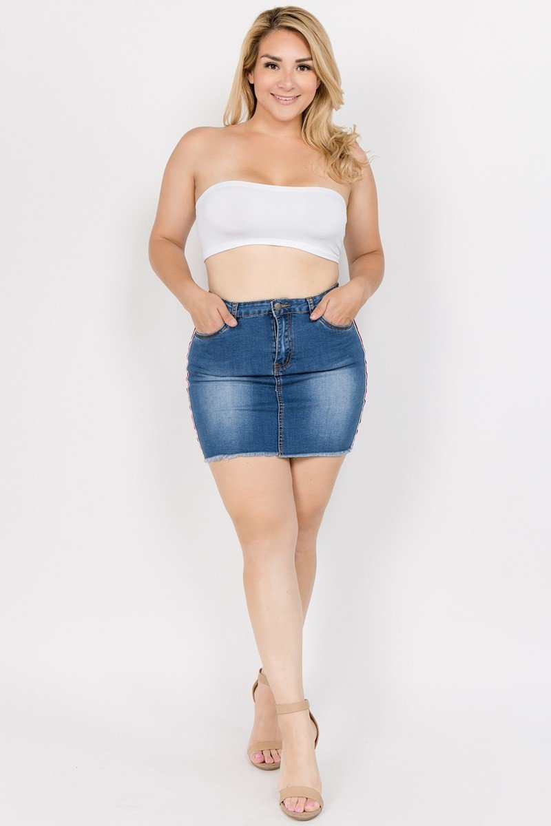 Plus Size Trendy Side Striped Denim Jeans Skirt STOCKED