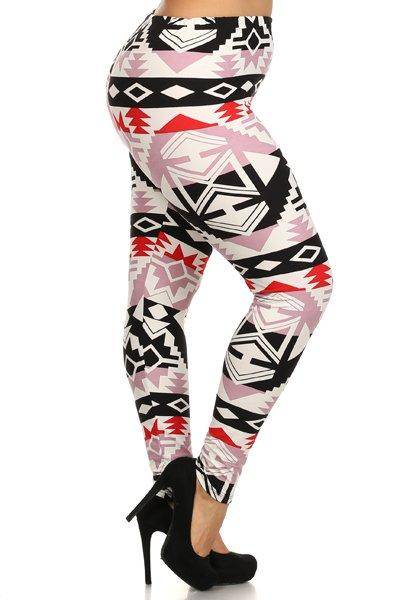 Plus Size Tribal Pink Pattern Stretchy Leggings