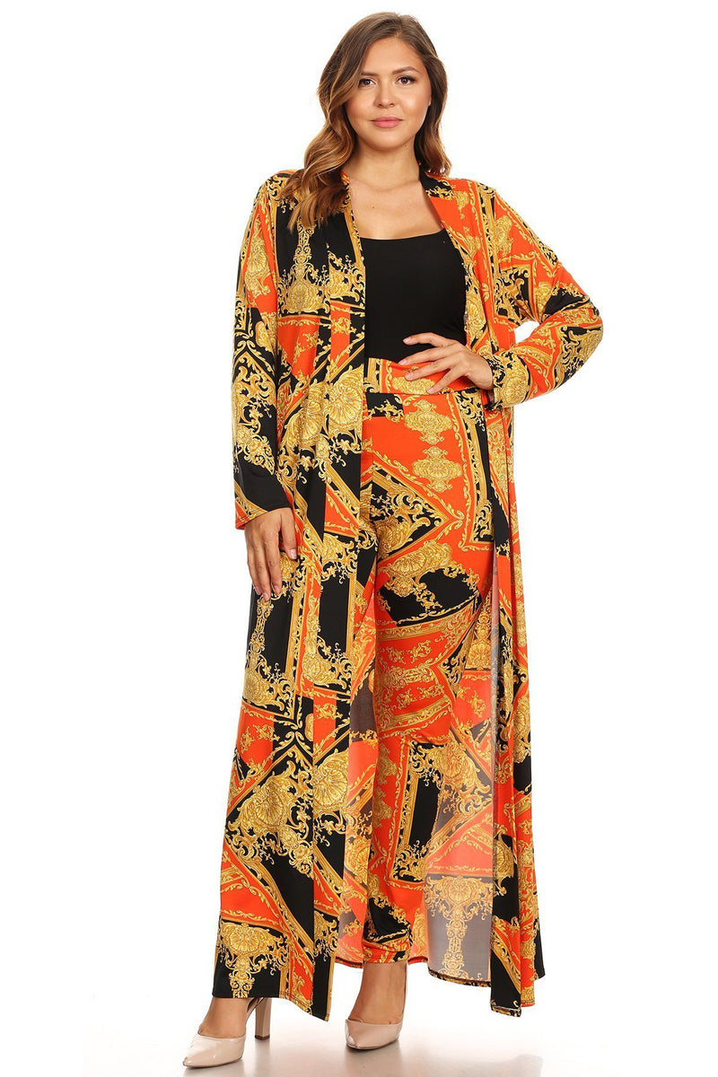 Plus Size Two Piece Long Body Cardigan Set