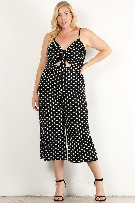 39940db386658 Plus Size Polka Dot Sleeveless Relaxed Fit Jumpsuit – slayboo