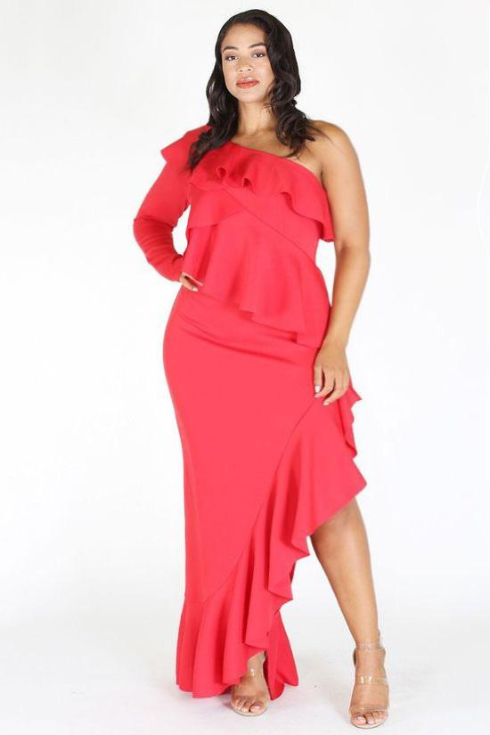 Plus Size Glam Layered Ruffle One Shoulder Dress Pre Order 25 Off