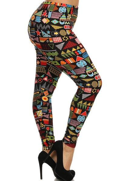 Plus Size Colorful Shapes Stretchy Leggings