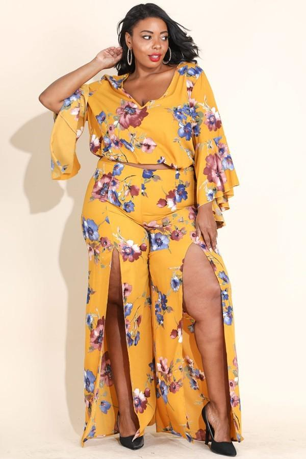 Plus Size Glowing Floral Double Slit Pant Set Yellow