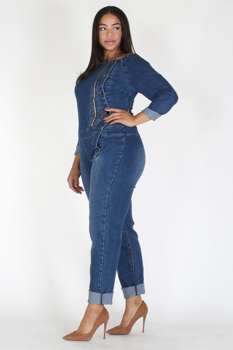863c7d1bce9 Plus Size Off Shoulder Elastic Denim Button Jumpsuit – slayboo