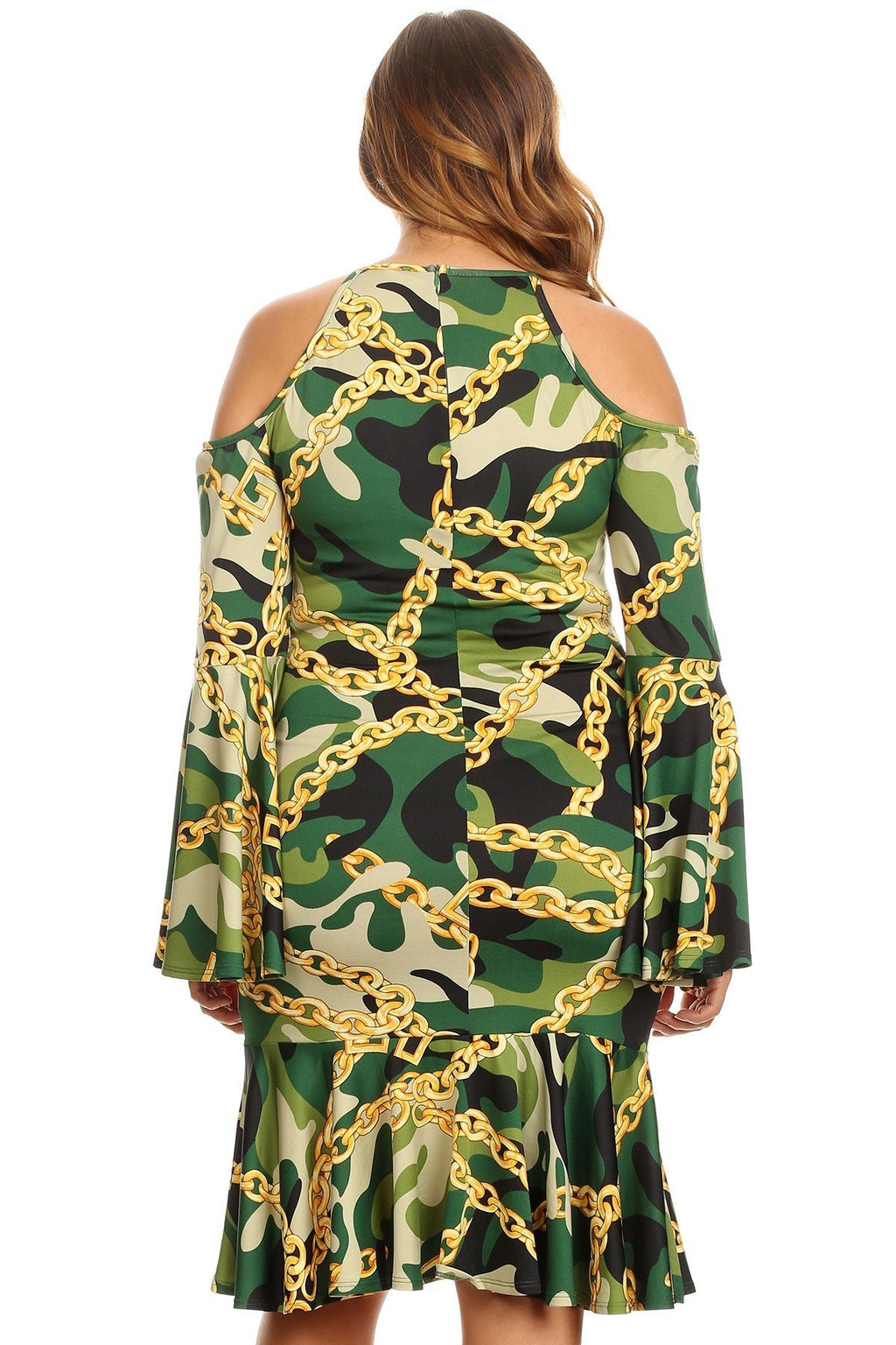 Plus Size Bell Sleeves Cold Shoulders Camo Printed Dress