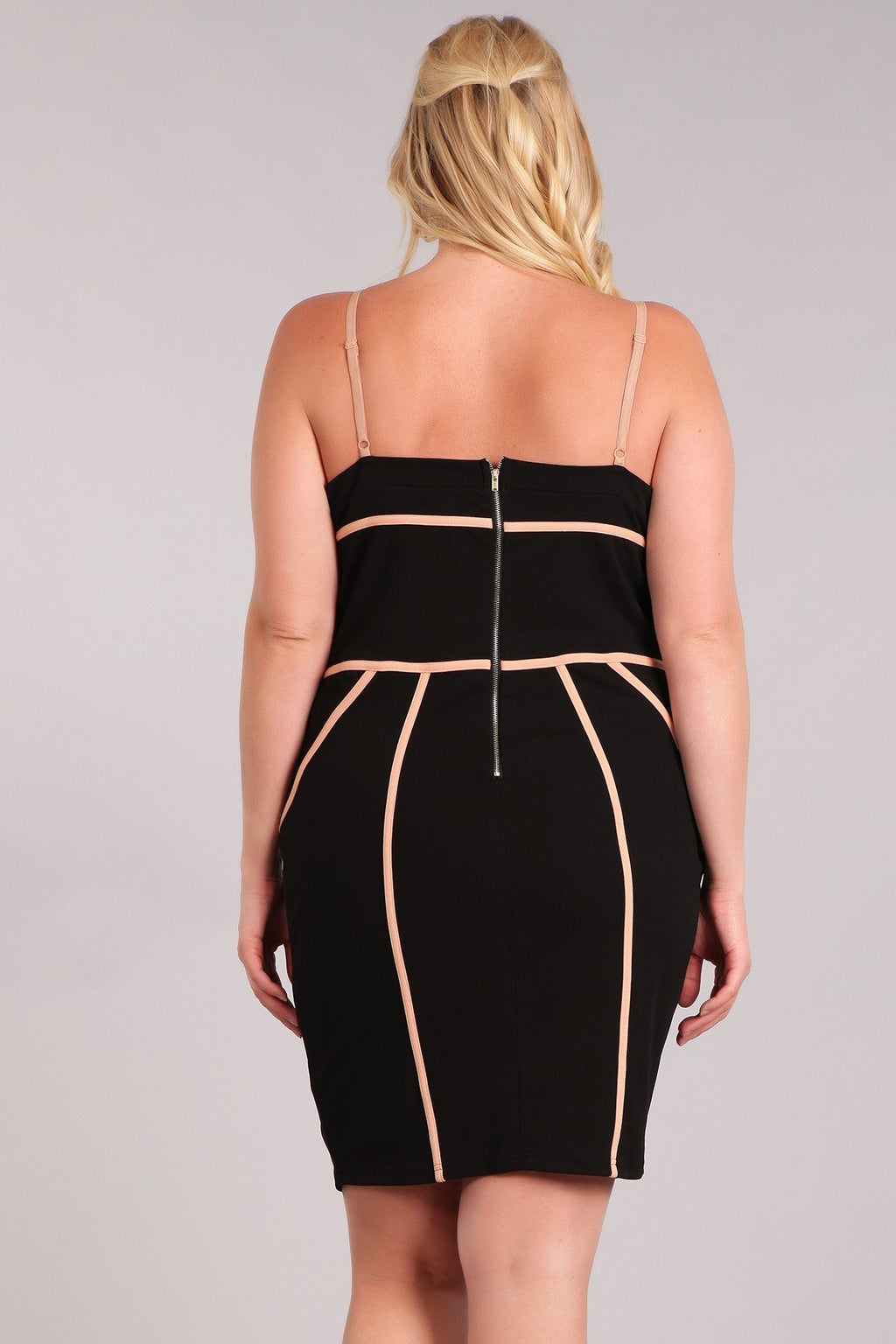 Plus Size Solid Sleeveless Open Back Mini Dress
