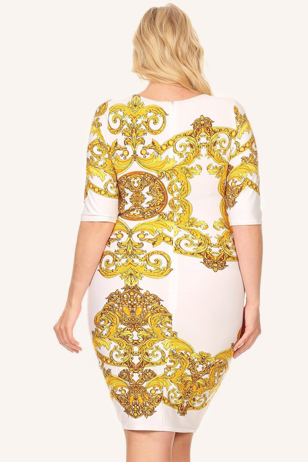 Plus Size Designer Gold Demask Print Bodycon Dress
