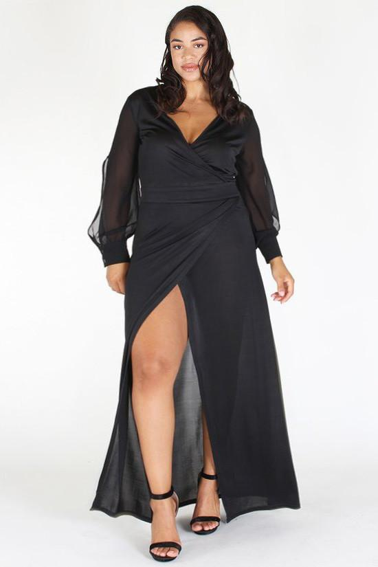 Plus Size Born Ready Wrap Around Mesh Sleeves Dress [PRE-ORDER 25% OFF]