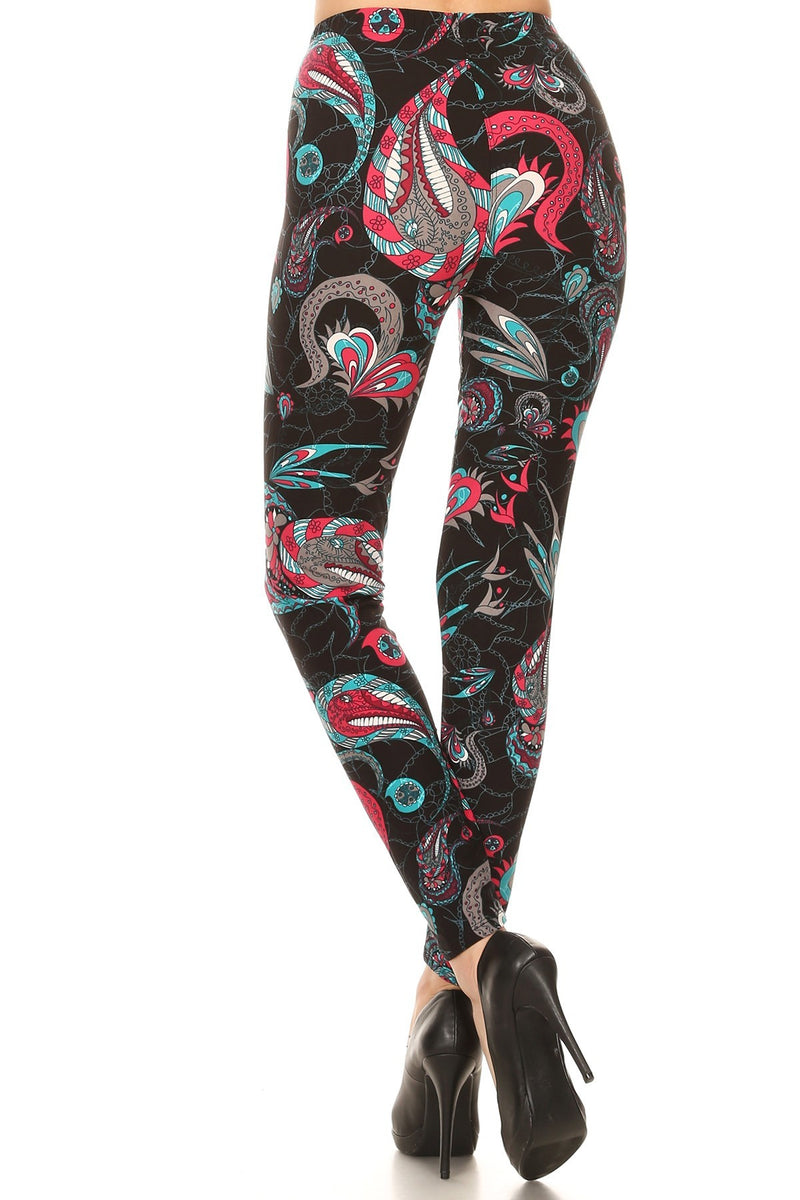 Paisley Floral Printed Knit Leggings