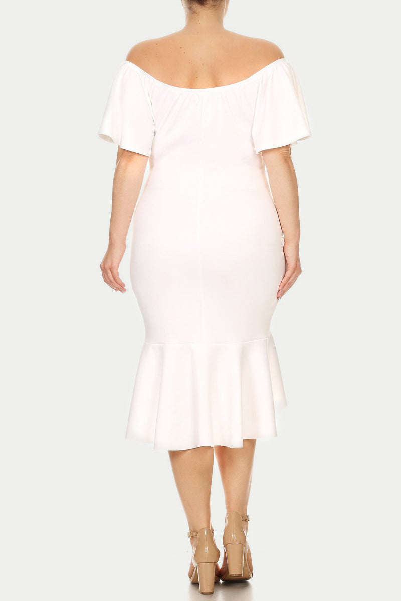 Plus Size Silhouette Flutter Sleeve Dress