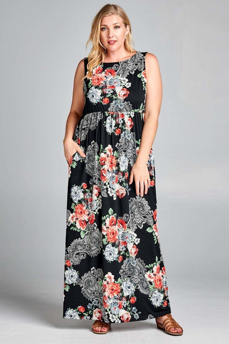 edc8ce44fe9 Plus Size Paisley Print Side Pocket Maxi Dress – slayboo