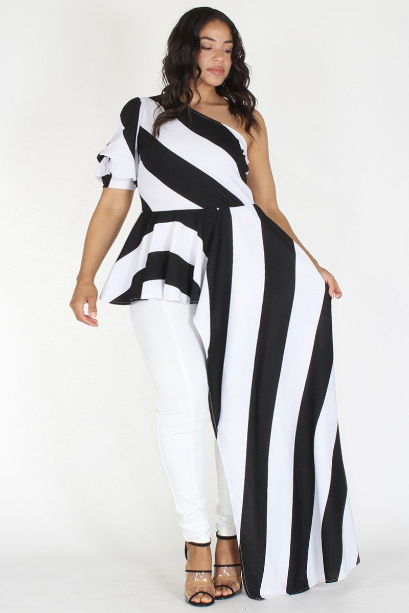 Plus Size Stripe One Puff Shoulder Body Top
