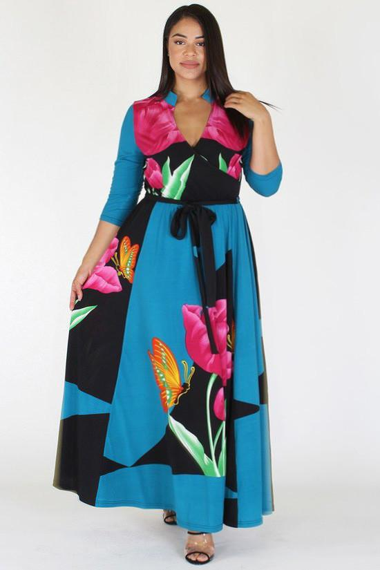 Plus Size Butterfly Tropical Ribbon Tie Maxi Dress [SALE]