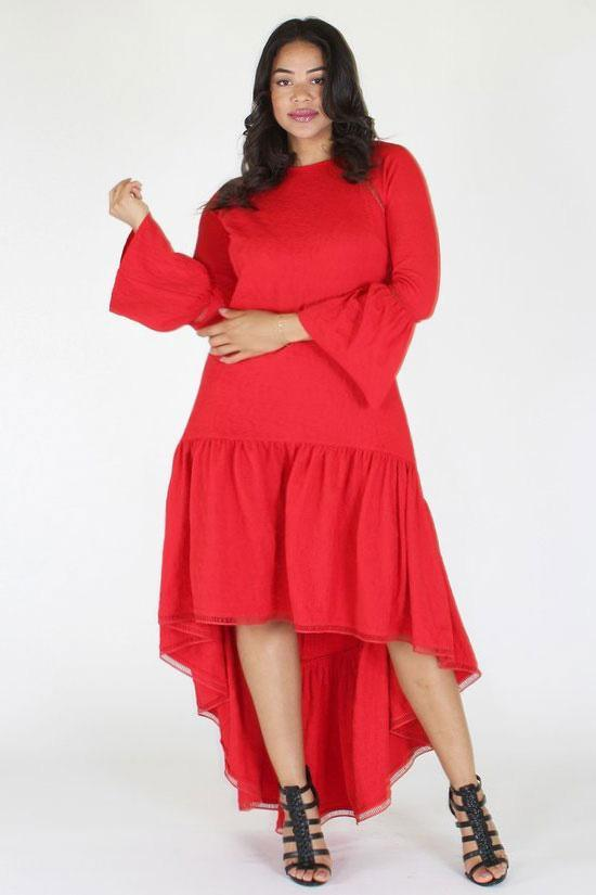 Plus Size Bell Sleeve Long Sleeve Hi Lo Dress [PRE-ORDER 25% OFF]