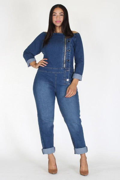 e5b25ed0080 Plus Size Off Shoulder Elastic Denim Button Jumpsuit