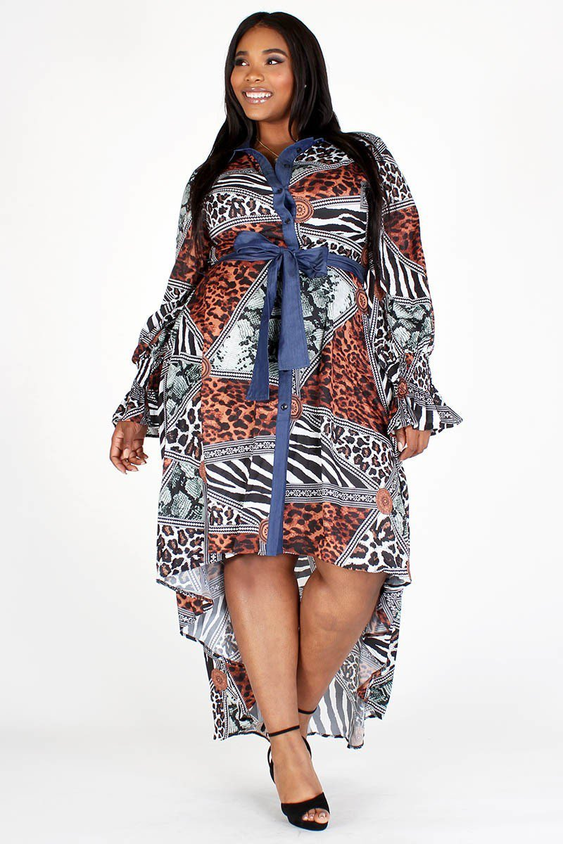 Plus Size Animal Print Hi Lo Chambray Accent Dress
