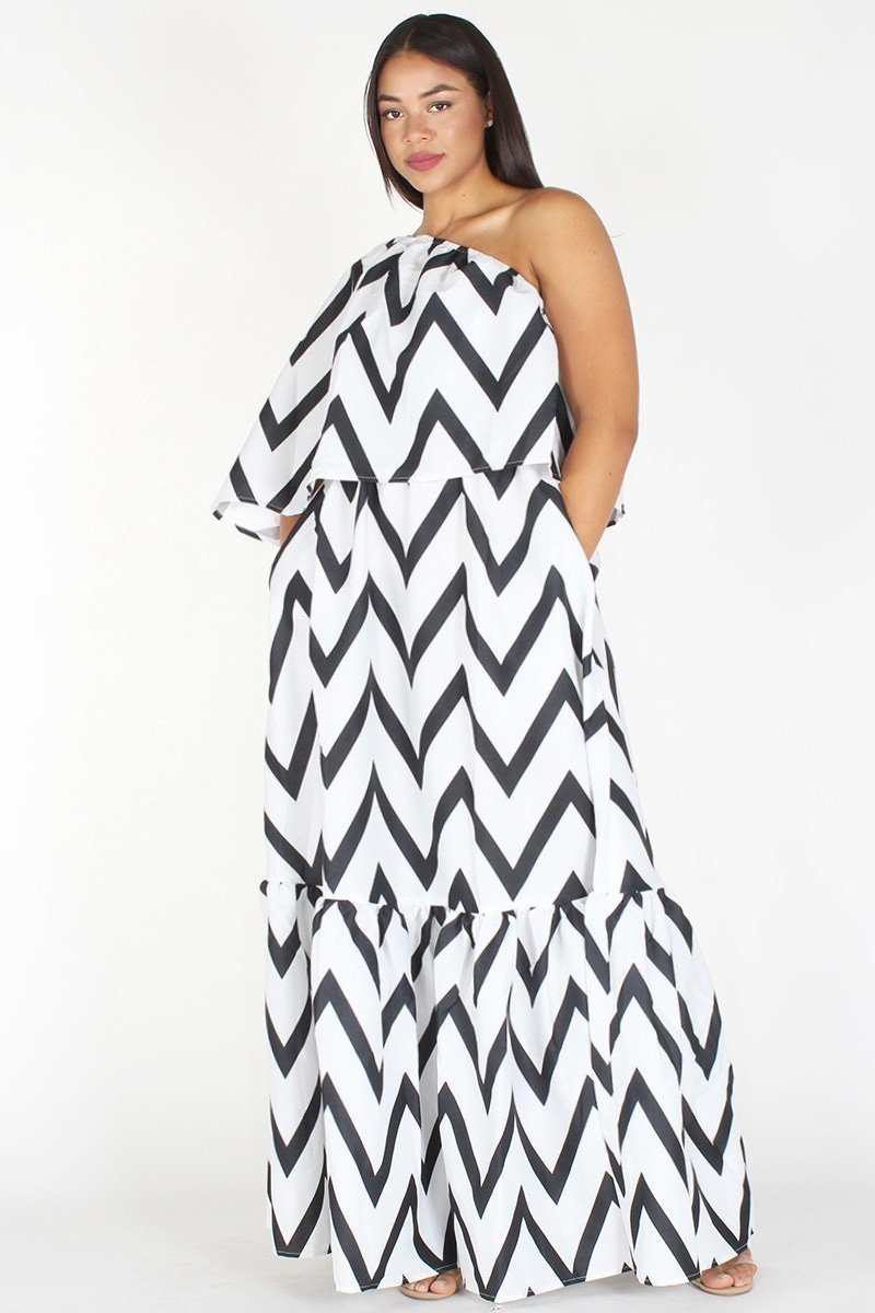 Plus Size Chevron Print Relaxed One Shoulder Maxi Dress – slayboo