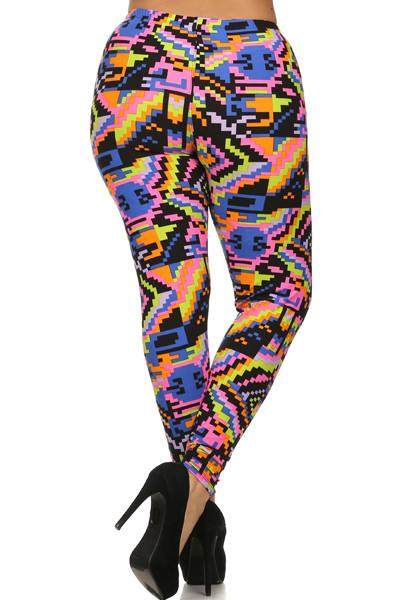 Plus Size Colorful Tribal Print Leggings