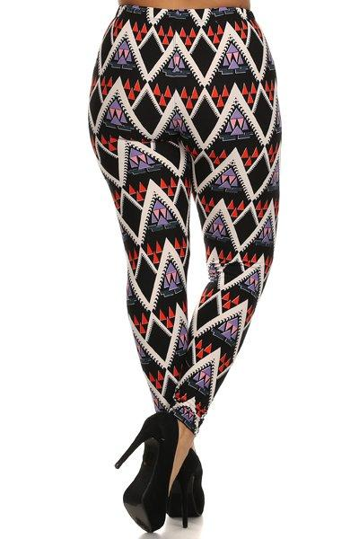 Plus Size Purple Geo Pattern Stretchy Leggings