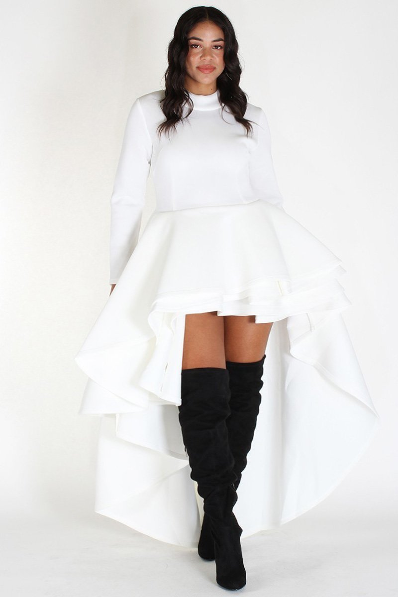Plus Size Long Sleeve Glam Hi Low Tiered Dress White