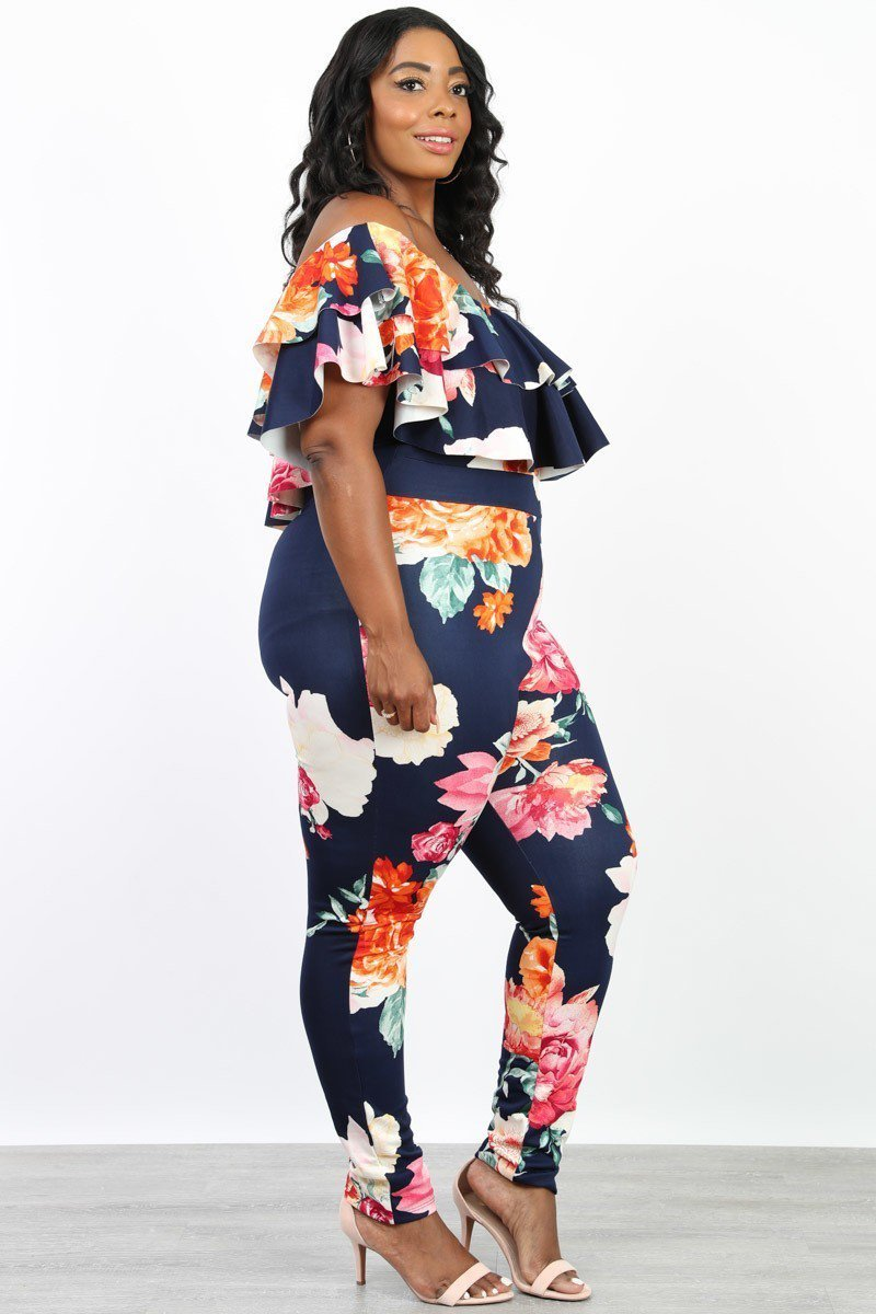 010272ab709 Plus Size Floral Print Off Shoulder Ruffle Jumpsuit – slayboo