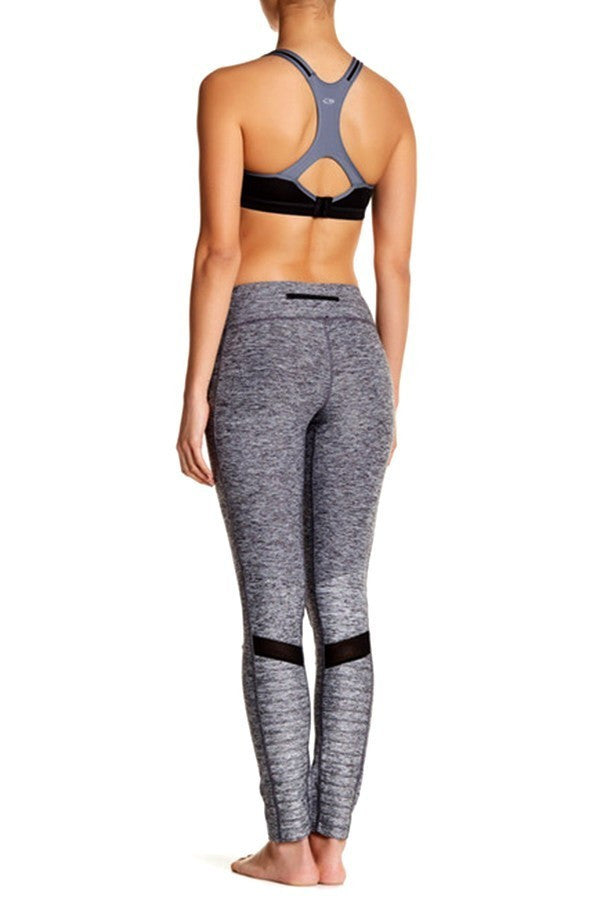 Mixed Matte Shine Fabric Mesh Detail Leggings