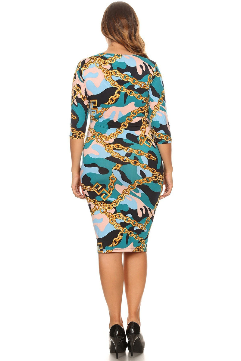 75a9c467149 Plus Size Designer Chain Print Camo Bodycon Dress – slayboo