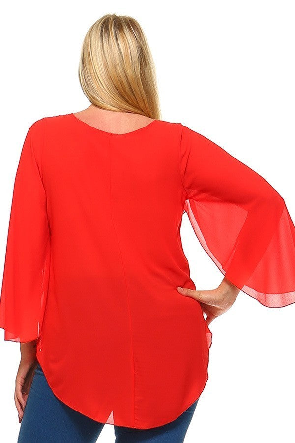 Plus Size Bell Sleeves Embroidered Neckline Top