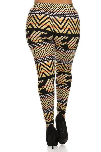 Plus Size Geo Sun Pattern Stretchy Leggings