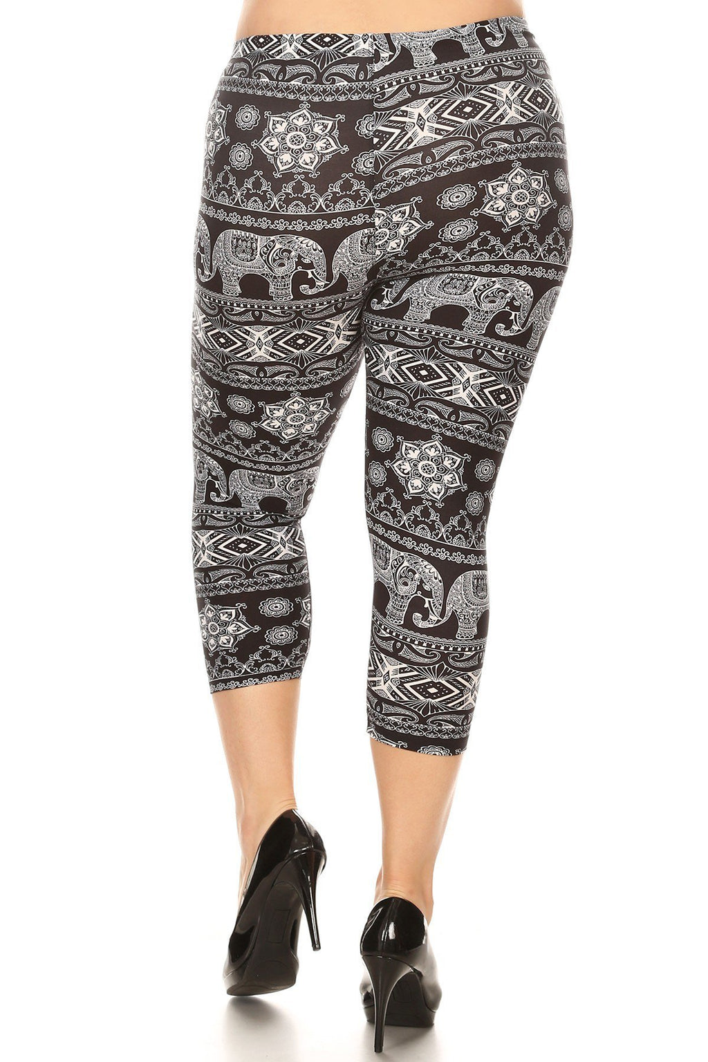 Plus Size Capri Elephant Chakra Stretchy Leggings