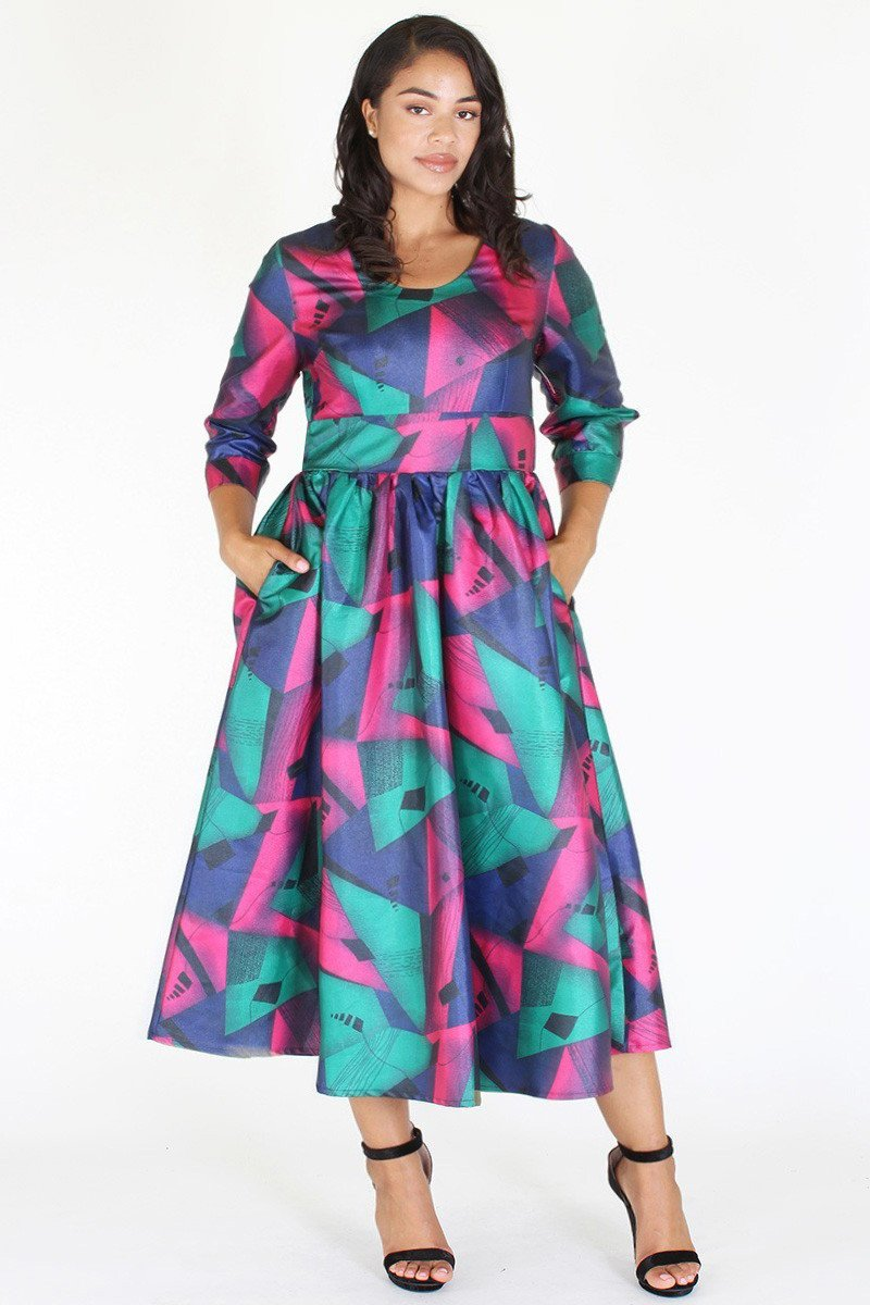 Plus Size Gorgeous Geo Flare Cocktail Dress