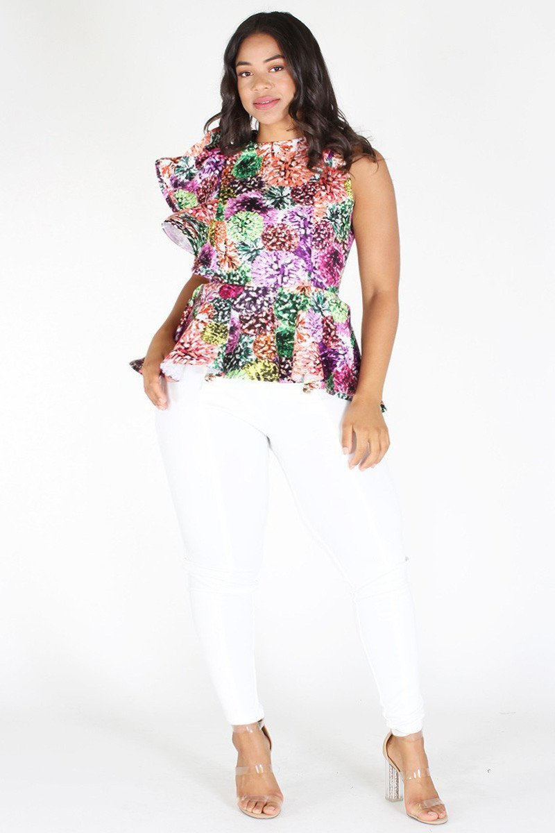 Plus Size Vibrant Ruffle Shoulder Floral Peplum Top [PRE-ORDER 25% OFF]