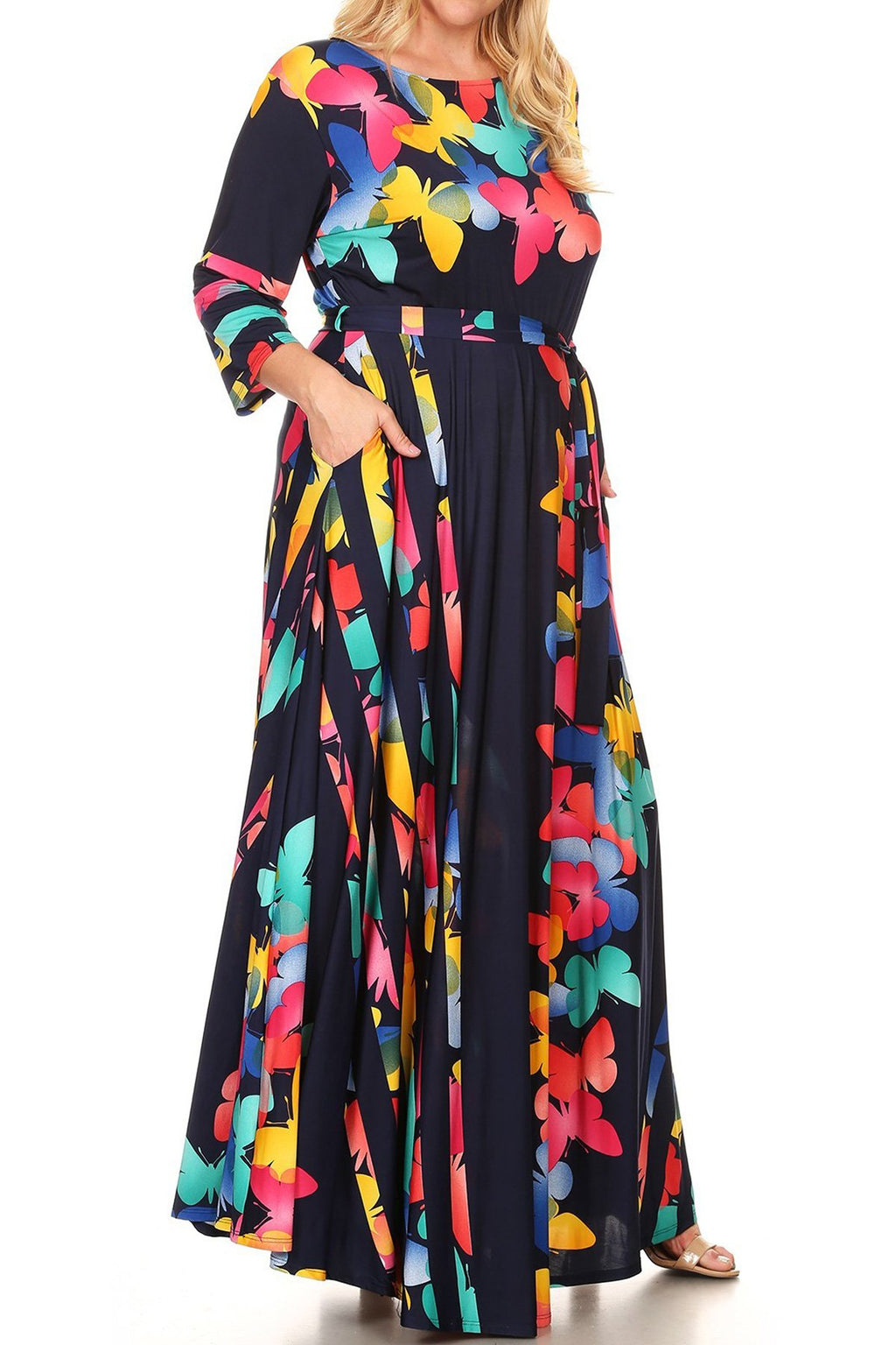 Plus Size Butterfly Abstract Stripe Waist Tie Maxi Dress