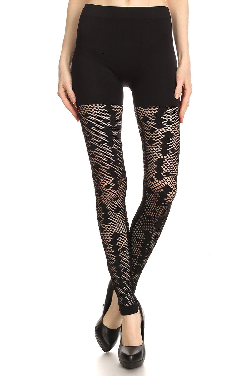 Solid Mesh Net Zipper Trim Leggings