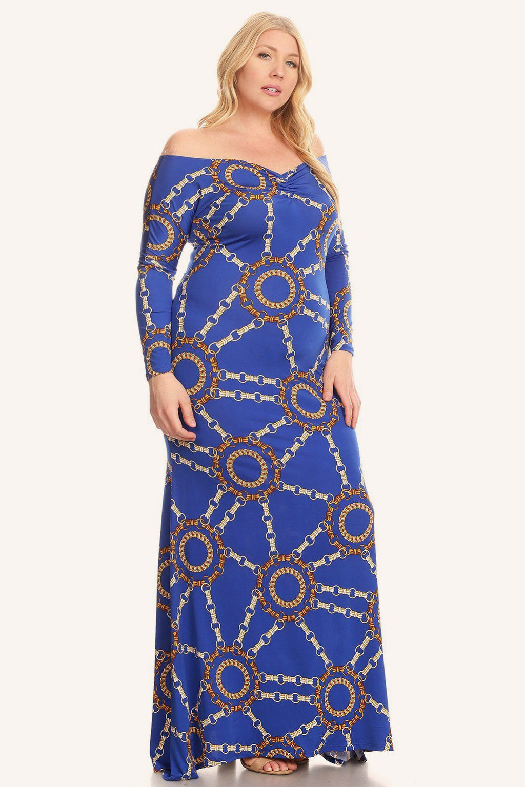 Plus Size Designer Link Pattern Off Shoulder Maxi Dress