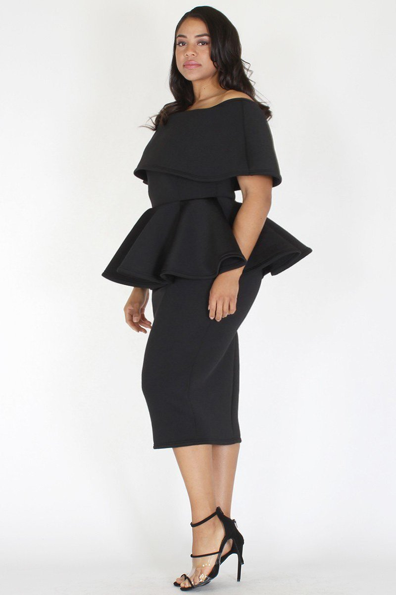 Plus Size Off Shoulder Peplum Pencil Skirt Dress Black