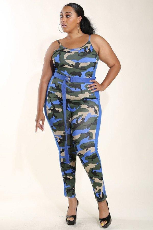 Plus Size Long Belt Camo Catsuit Jumpsuit