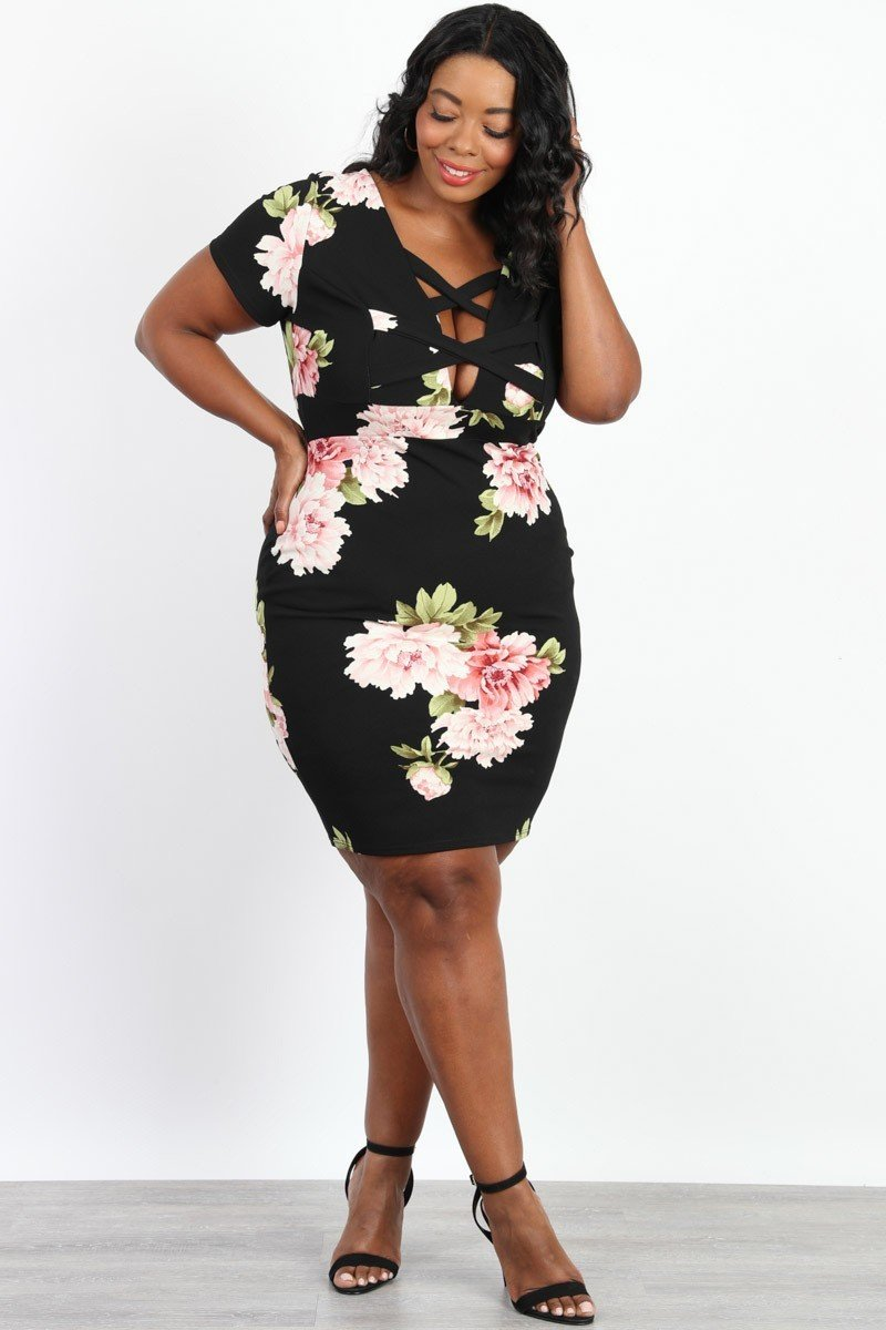 Plus Size Front Cross Floral Bodycon Dress