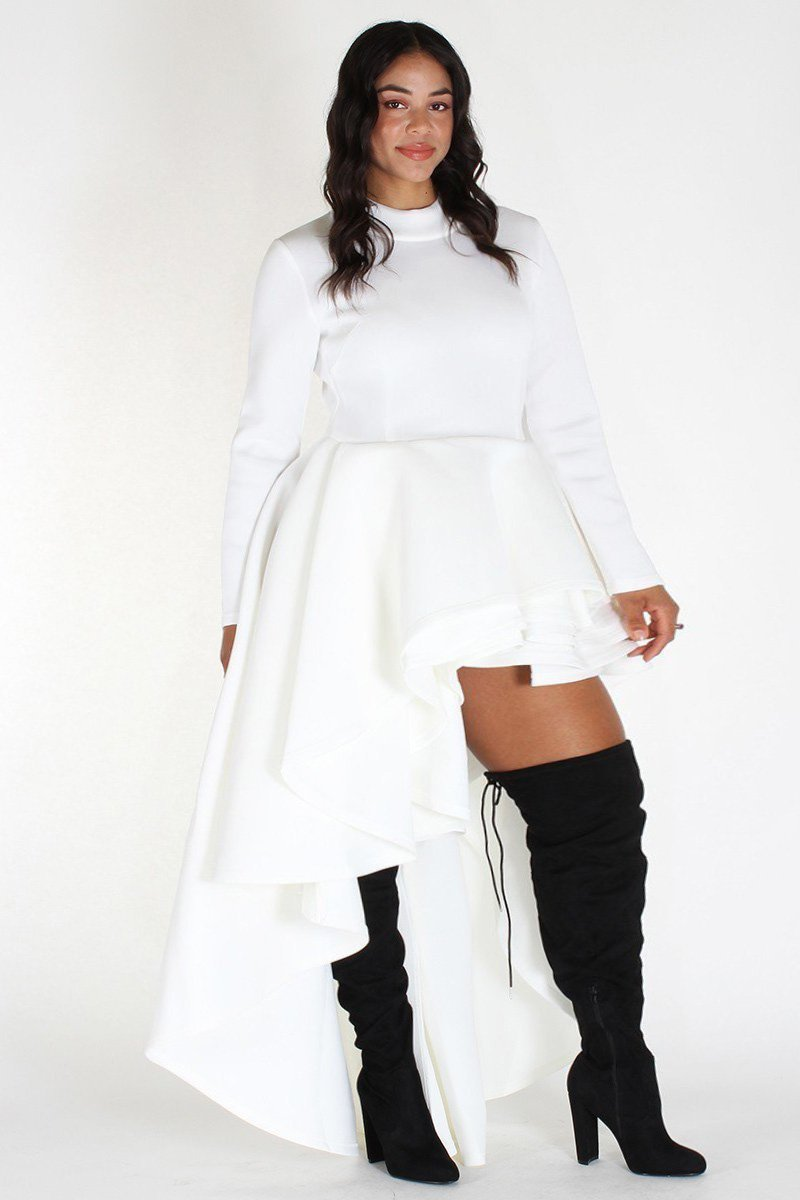 Plus Size Long Sleeve Glam Hi Low Tiered Dress White – slayboo