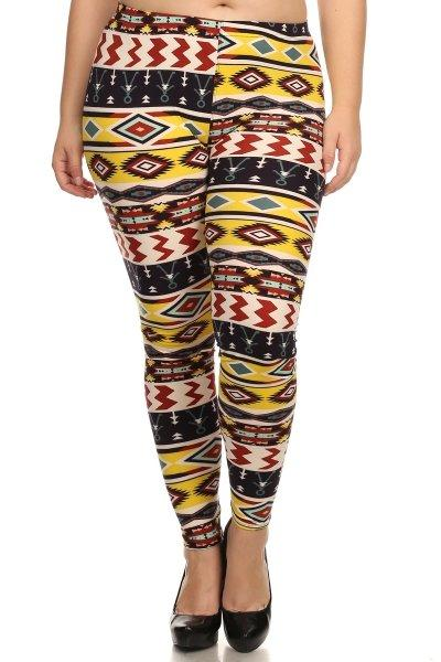 Plus Size High Waist Multi-colored Leggings With Elastic Waist