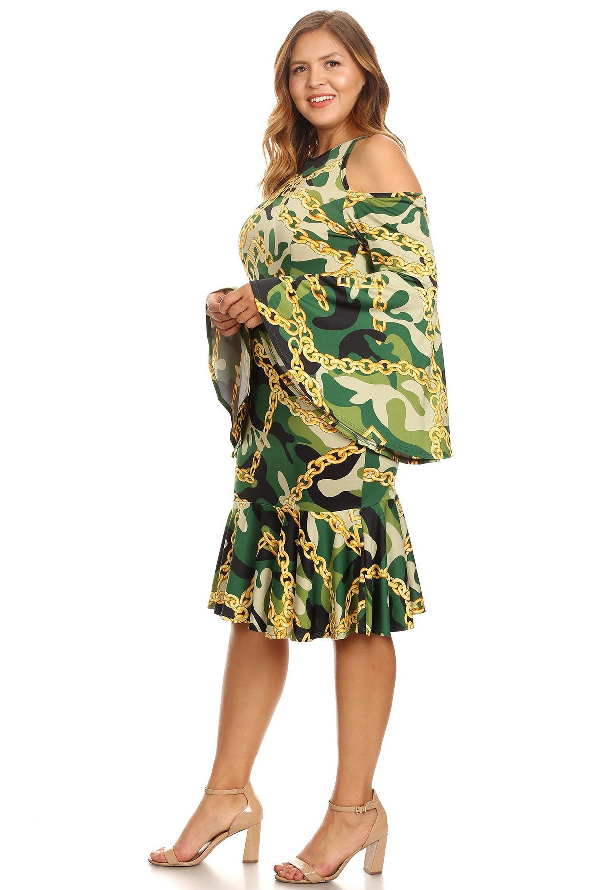 d8a06f77bb80a Plus Size Bell Sleeves Cold Shoulders Camo Printed Dress – slayboo