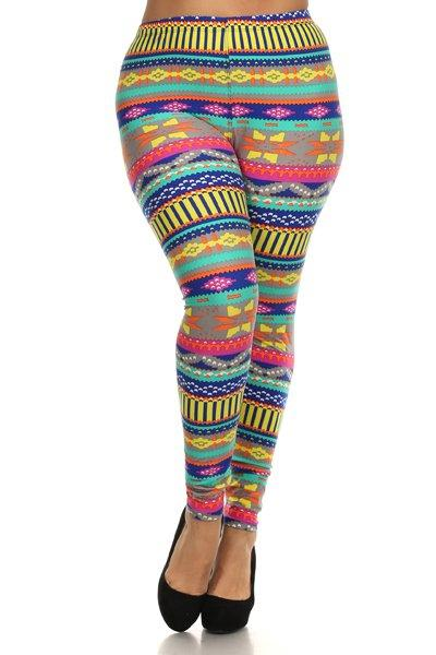 Plus Size High Waist Printed Leggings With Elastic Waist