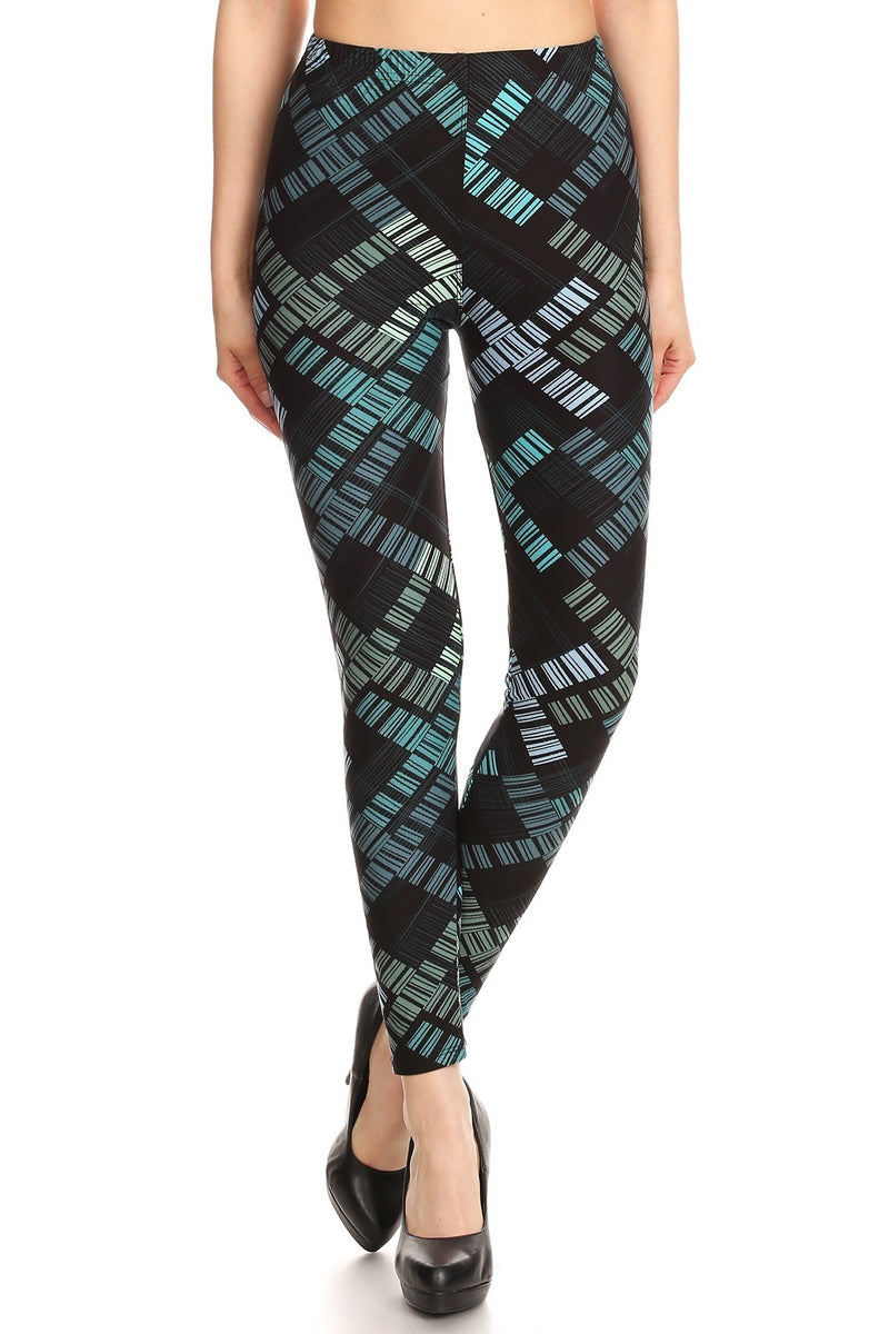 Mixed Stripped Printed Fit Style Leggings